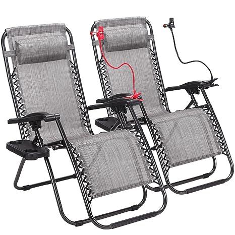 Lote de 2 cero gravedad al aire libre sillas de salón Patio ...