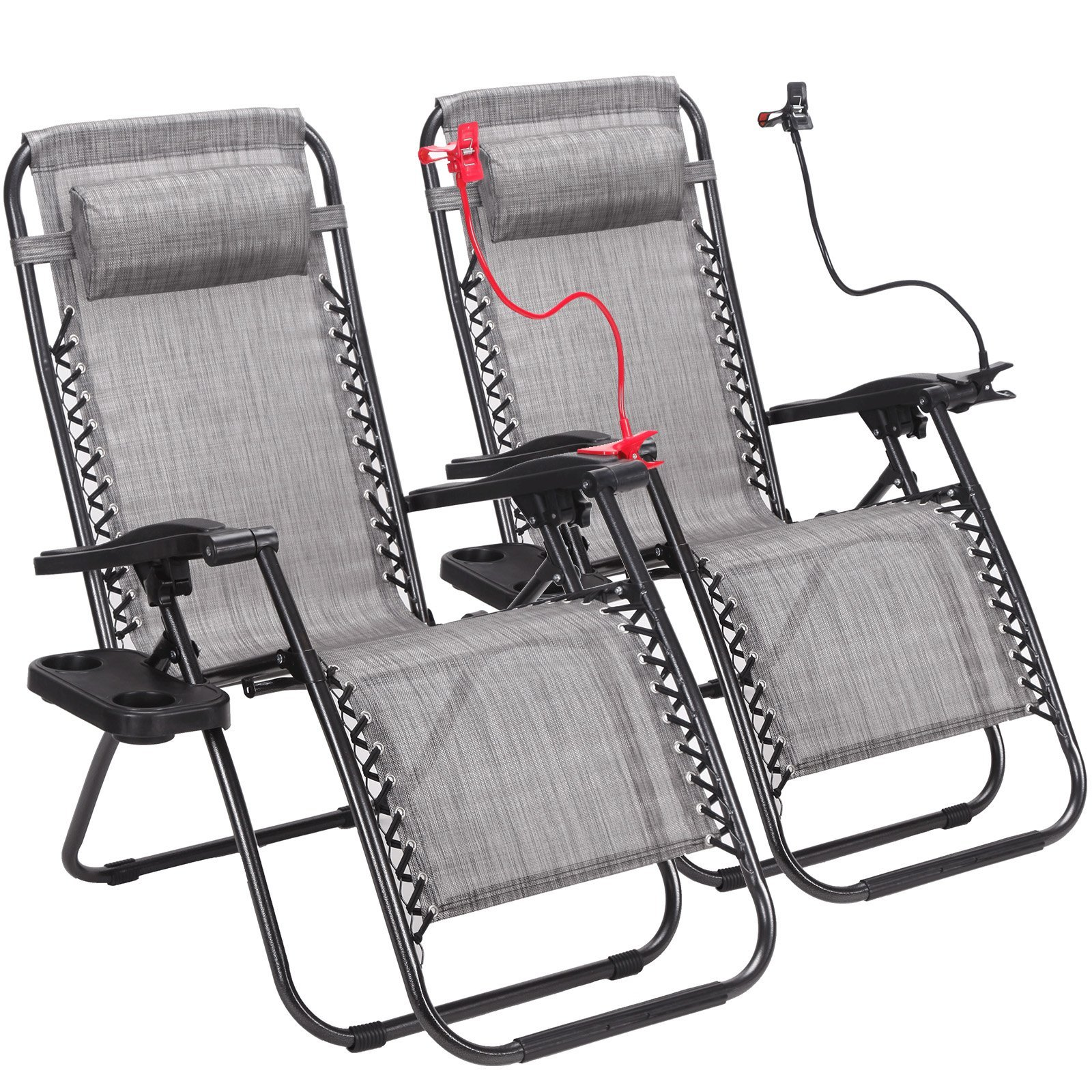 Idealchoiceproduct 2-Pack Zero Gravity Outdoor Lounge Chairs Patio Adjustable Folding Reclining Chairs With Free Cup/Drink Utility Tray & Cell Phone Holder - Grey Color, 2pcs