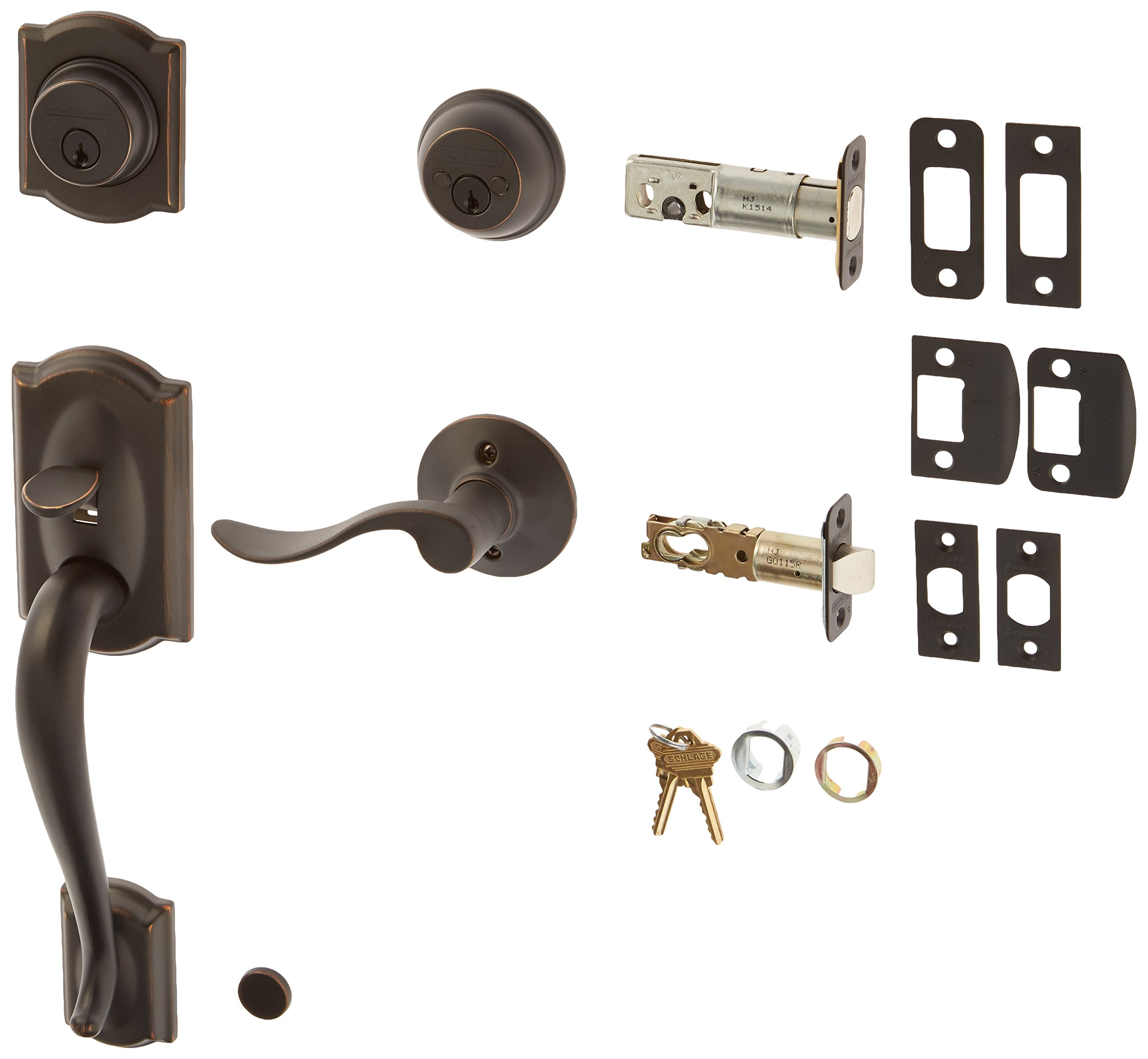 Schlage F62-CAM-ACC-LH Double Cylinder Sectional Handleset with Left Handed Acce, Aged Bronze