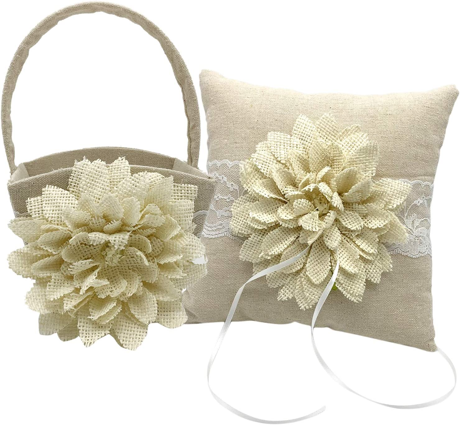 Staright Flower Basket+Wedding Ring Bearer Pillow Big Flower Lace Pearl Decor for Wedding Party Romantic