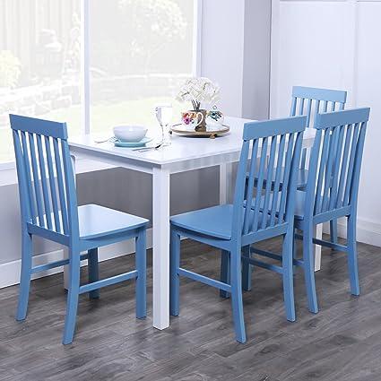 Merveilleux WE Furniture 5 Piece Chic Wood Dining Set, Blue