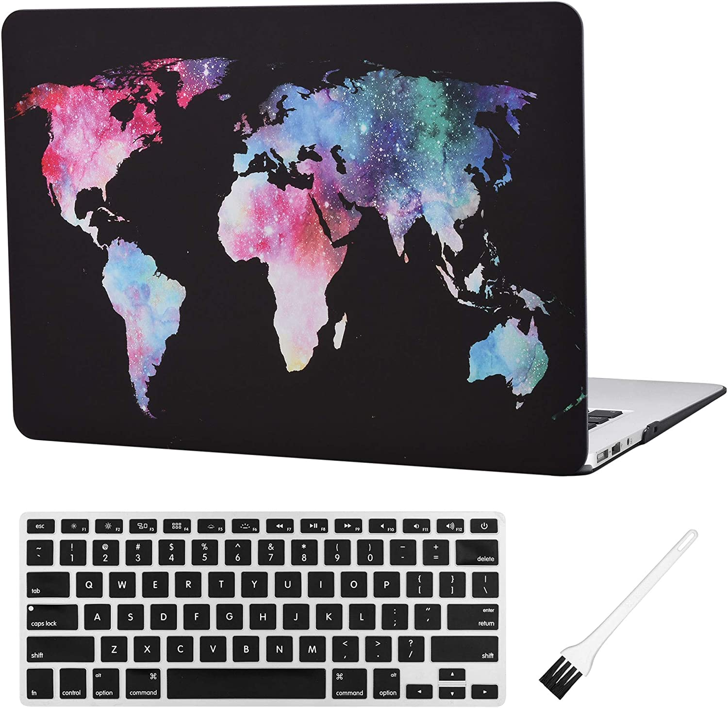 MacBook Air 13 inch Case A1369 A1466 Matte Rubberized Plastic Hard Shell Sleeve Cover World Map Pattern (Old Version 2010-2017) with Silicone Keyboard Cover Dust Brush (Map Pattern-Black)