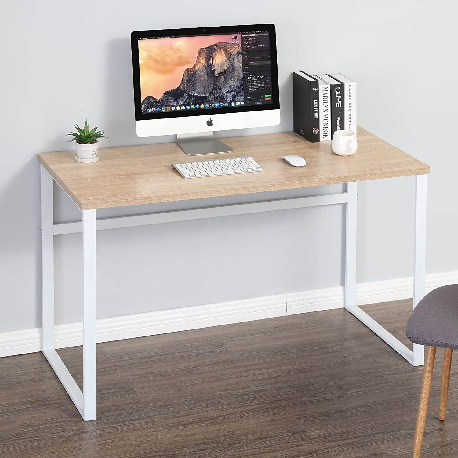 Amazon com homury computer desk office desk wood study writing soho desk table for home officewhite kitchen dining