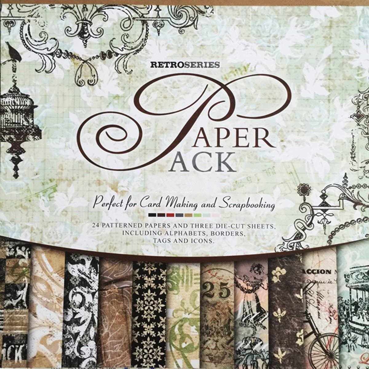 Handcrafted Art Flowers Lace Tans and Blacks Vintage Themed Scrapbook Page