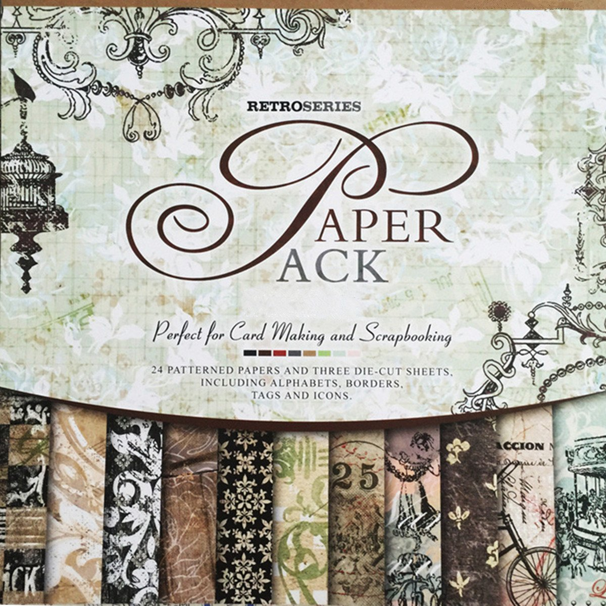 27 Sheets Vintage Paper Pad 12'' x 12'' Classic Origami Scrapbooking Wrapping Book Craft DIY Card making Damask Art Alphabet/Photo Frame Album Creative Handmade Decorative Die Cuts Background by S&B Collection