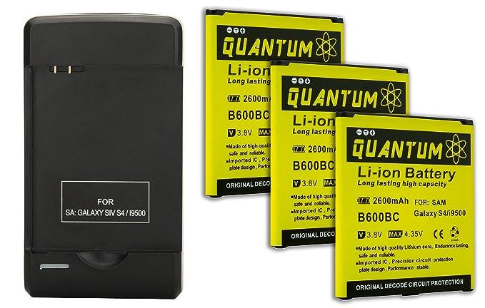 Amazon.com: 3x Baterías Quantum para Samsung Galaxy S4 + ...