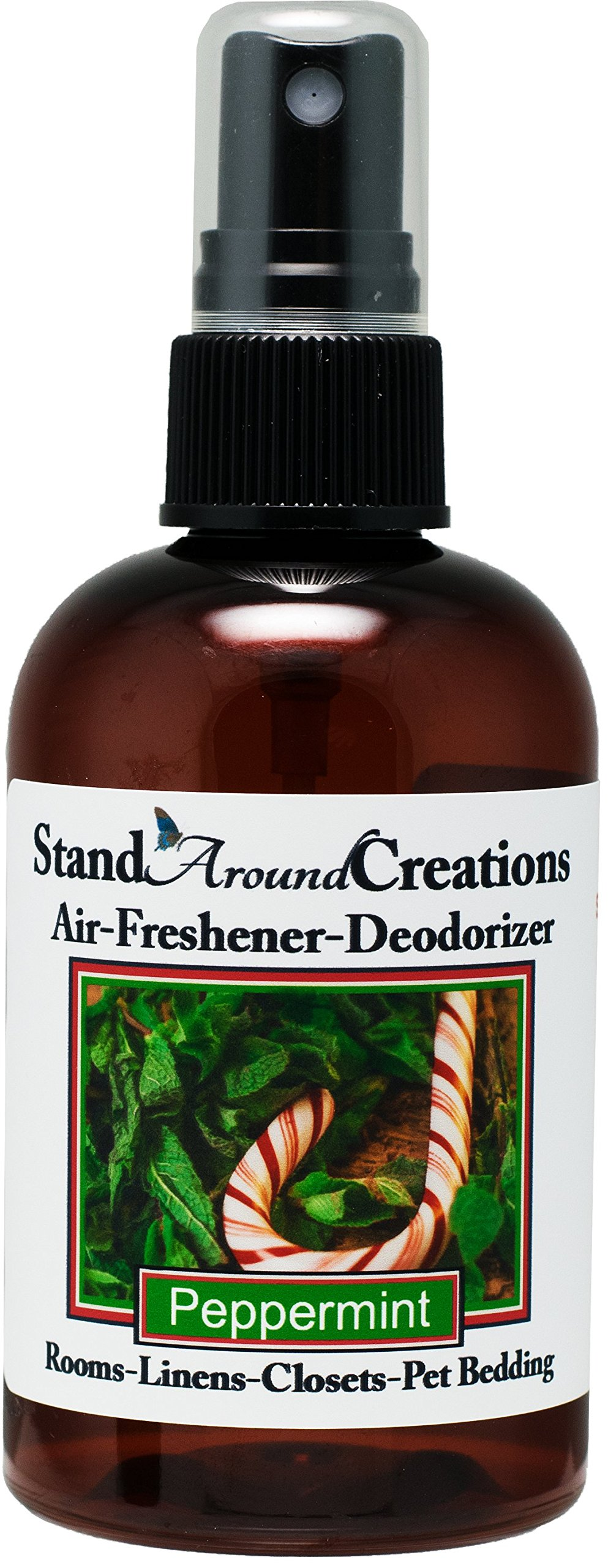 Concentrated Spray For Room / Linen / Room Deodorizer / Air Freshener - 4 fl oz - Scent - Peppermint: Irresistible aroma with mint essential oil to create a ''true to life'' scent of this much-loved winter candy. This fragrance is infused with Cornmint Oil,