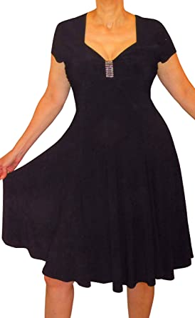fce5b633f16 Funfash Plus Size Women Black Slimming Empire Waist Cocktail Dress Made in  USA at Amazon Women s Clothing store