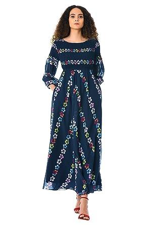31de0b415ba3 eShakti Women's Floral chevron empire smocked georgette maxi dress UK Size  04/Regular height Navy
