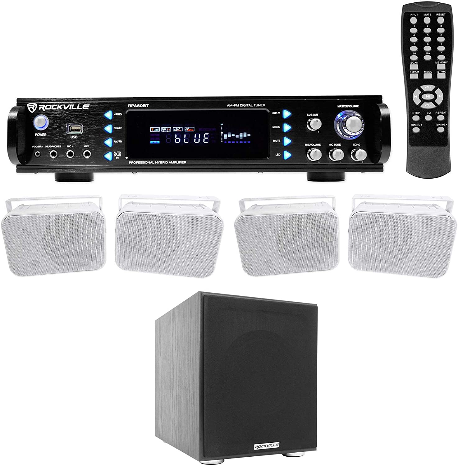 Rockville 1000w Home Theater Bluetooth Receiver+(4) 6.5