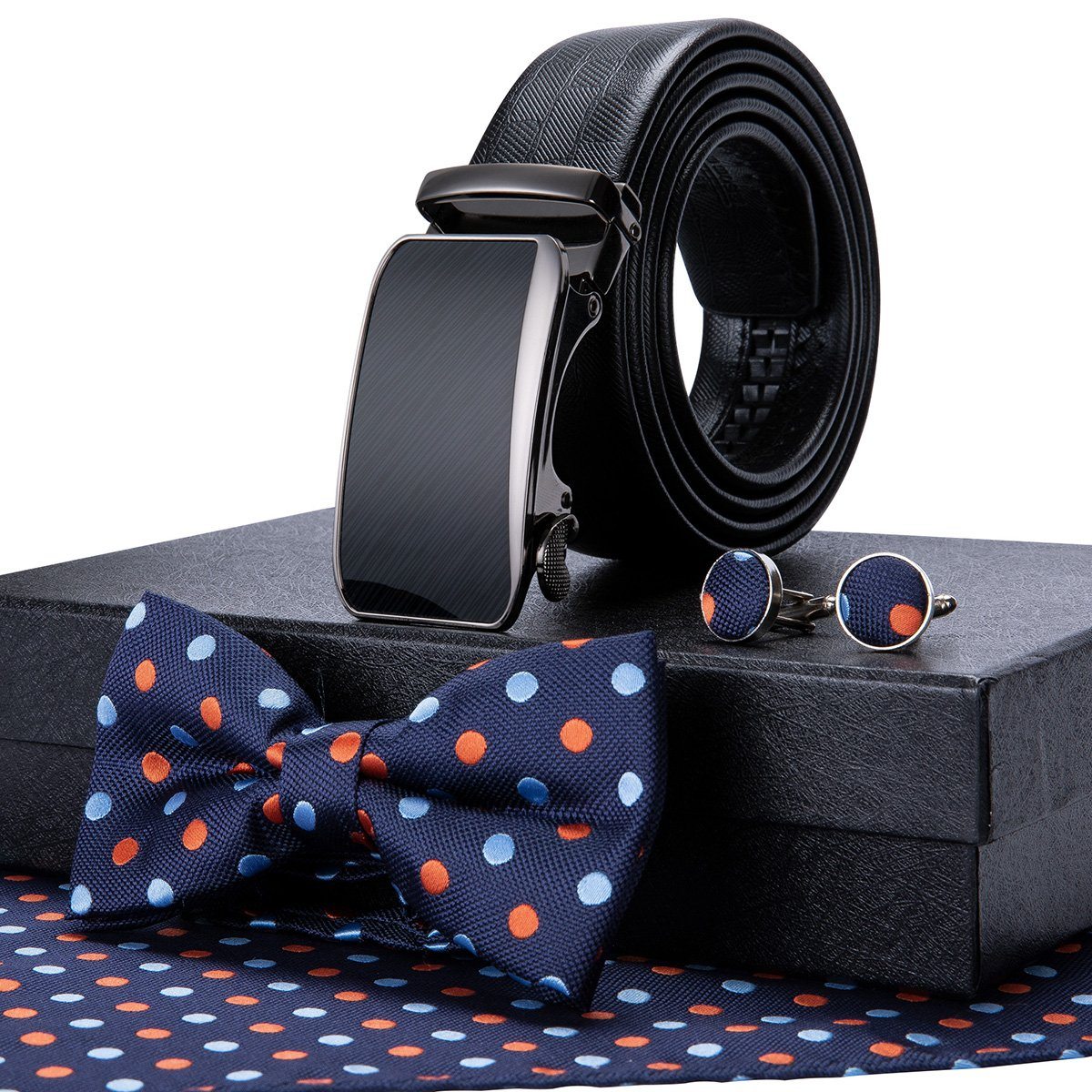 Bow Tie Set Hanky Cufflink and Ratchet Leather Belt Sliding Buckle Gift Box (Blue Bowtie+Black Belt)