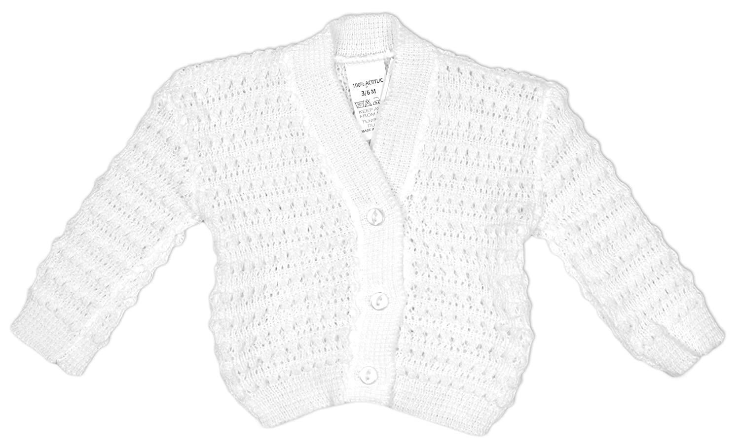 172c42b7e Baby Knitted Button Cardigan Cardi Acrylic White Pink Blue sizes ...