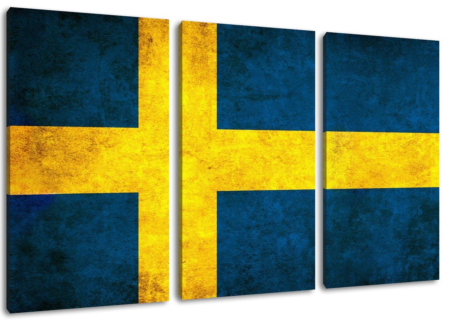 Schweden Flagge Format  Dreiteiler Gesamt 120x80, Bild auf Leinwand bespannt, riesige XXL Bilder komplett und fertig gerahmt mit Keilrahmen, Kunstdruck auf Wand Bild mit Rahmen, günstiger als Gemälde oder Bild, kein Poster oder Plakat