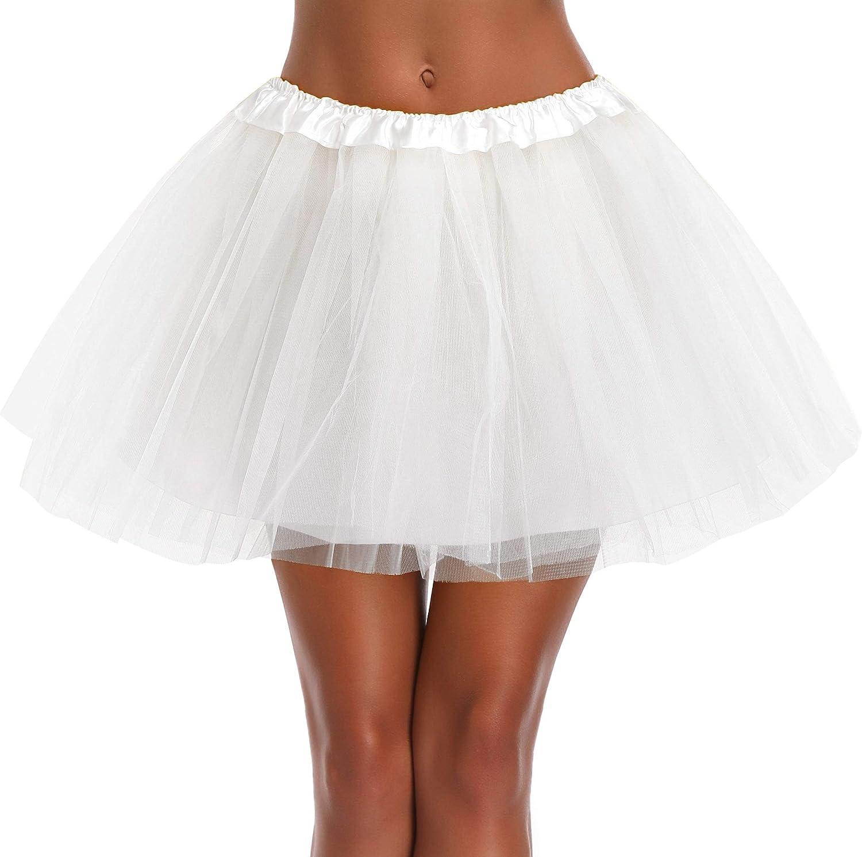 Women's, Teen, Adult Classic Elastic 3, 4, 5 Layered Tulle Tutu Skirt