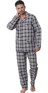 Pigiama Due Pezzi a Manica Corta e Giacca abbottonata a Quadri da Uomo Abbigliamento da Notte Classico per Signori El B/úho Nocturno Tessuto Popeline