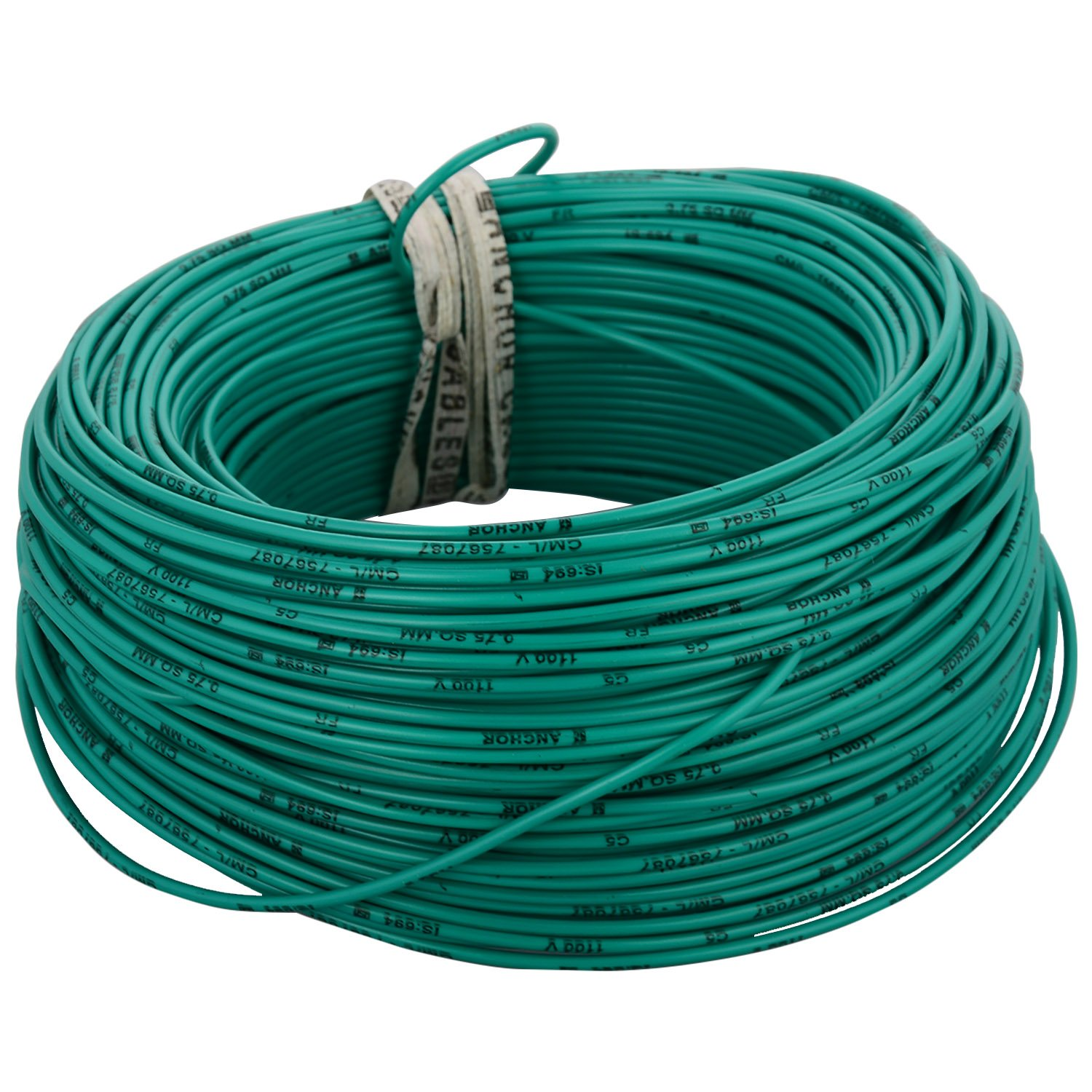 Anchor Insulated Copper PVC Cable 0.75 Sq mm Wire (Green): Amazon.in ...