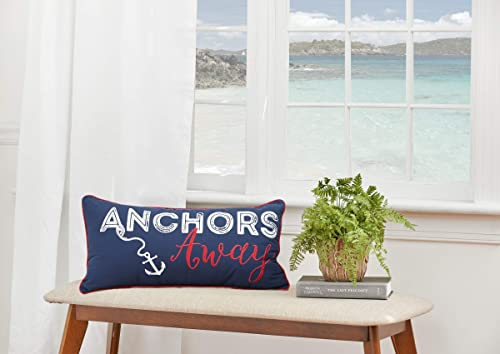 C F Home Anchors Away Nautical Embroidered Pillow 12 x 24 Blue