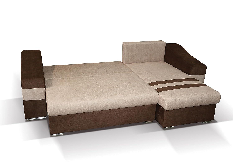Polstermöbel Lio in braun mit Staukasten und Bettfunktion – Abmessungen: 253 x 165 cm (L x B) - Ottomane: Links