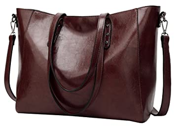 5f38ce3b4ce Image Unavailable. Image not available for. Colour  Molodo Women PU Leather  Big Shoulder Bag Purse Handbag Tote Bags Coffee