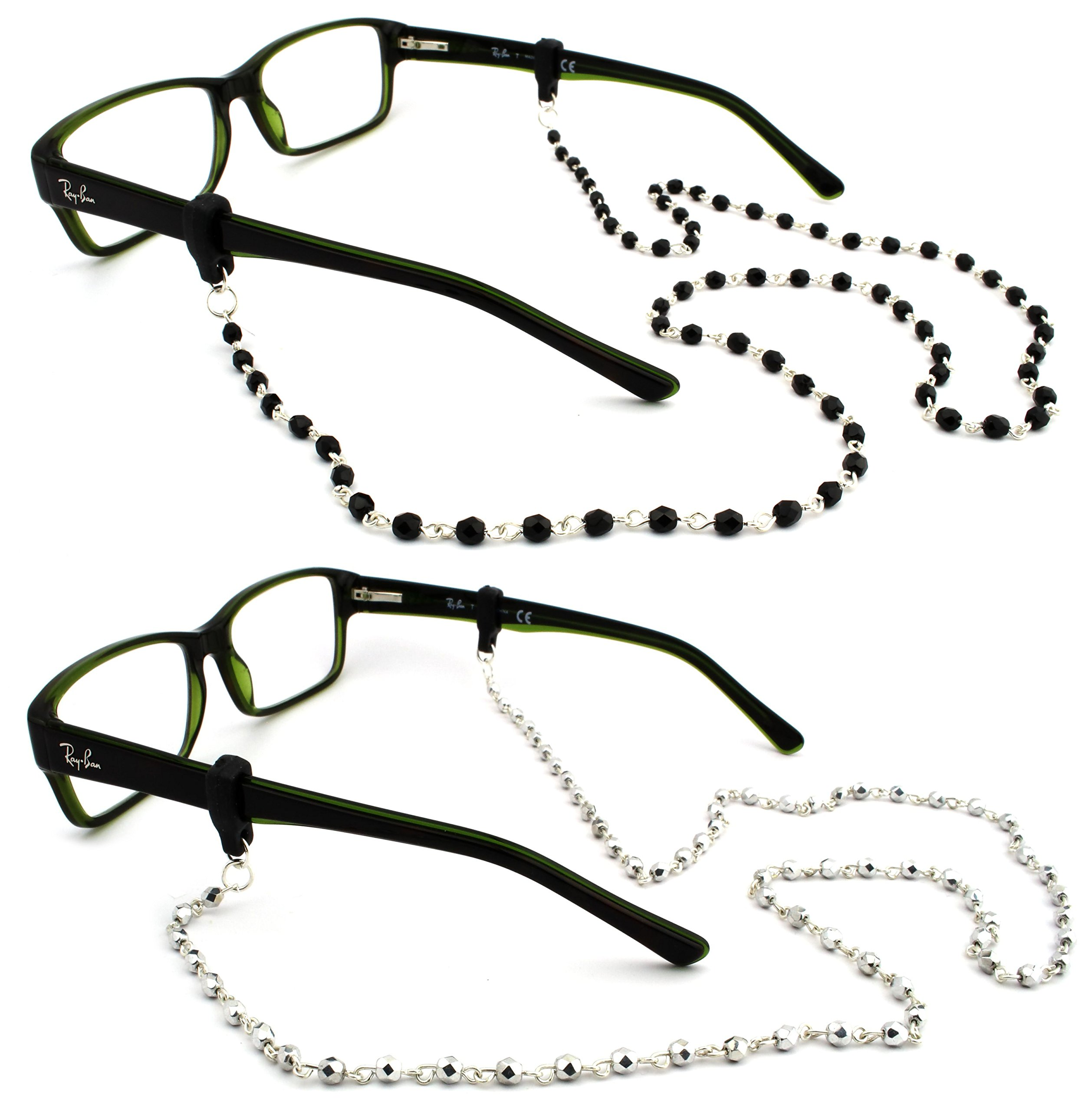 Peeper Keepers Czech Beads & Chains, Eyeglass Retainer, Assortment(4), 2pk mix, w/Cloth & Screwdriver by Peeper Keepers