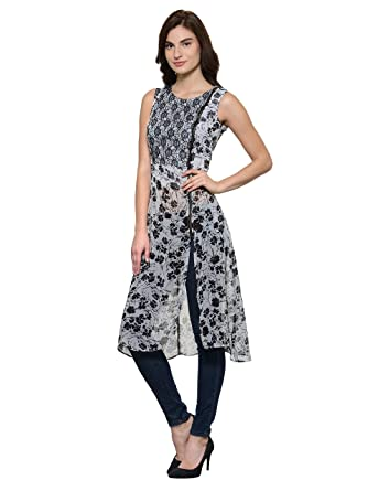 a18fd991745 Raas Prêt White Black Floral Print Tunic with high Low Styling in Front and  Metallic Zipper