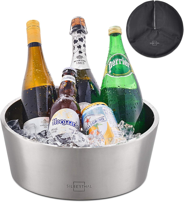 SILBERTHAL Champanera acero inoxidable grande | Cubitera para botellas de vino o champan | Champanera mesa enfriadora de vino y champán