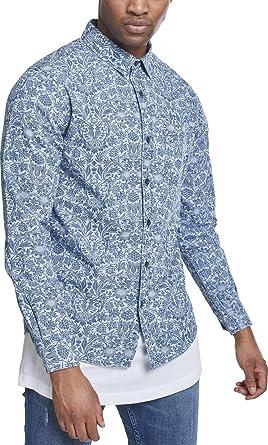 Urban Classics Printed Flower Denim Shirt Camisa Vaquera para Hombre