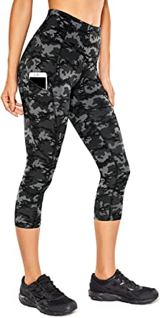 CRZ YOGA Women's Naked Feeling I High Waist Crop Tight Run Training Yoga Capri Leggings with Side Pocket-19 Inches