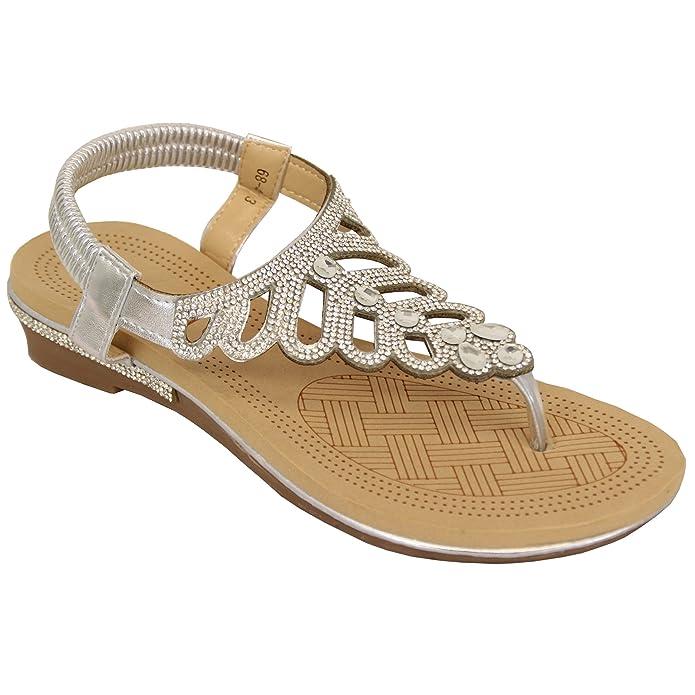 c3e6e84d0a905b Kelsi Ladies Sandals Womens Diamante Slip On Toe Post Shoes Casual Fashion   Amazon.co.uk  Shoes   Bags