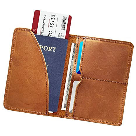 1b1a2cb365a8 Passport Holder for Men Genuine Leather Passport Cover Wallet Case Slim  Document
