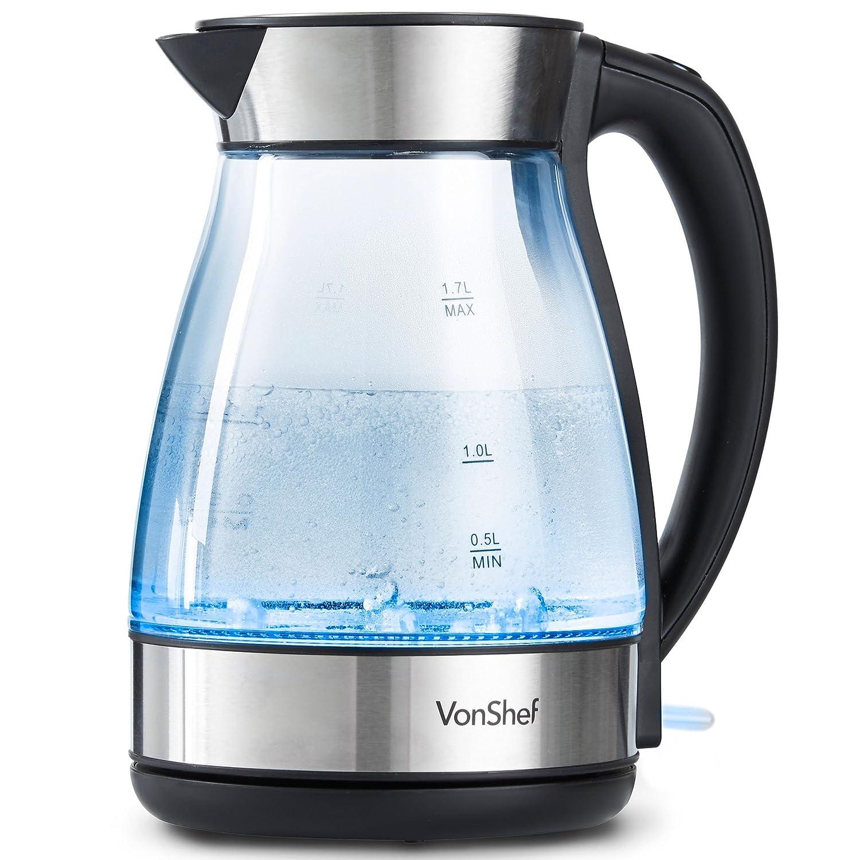 VonShef Bollitore Elettrico 1,7 L in Vetro – 2200 W con LED blu, senza BPA, base girevole a 360°