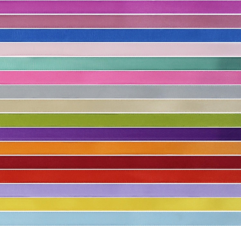 1cm//10mm Breit 16 Farben Geschenkband Geschenkb/änder Satinb/änder Ringelband Schleifenband Stoffband b/änder zum basteln Meetory 16 Rollen 365m Satinband 22.86m//Rollen
