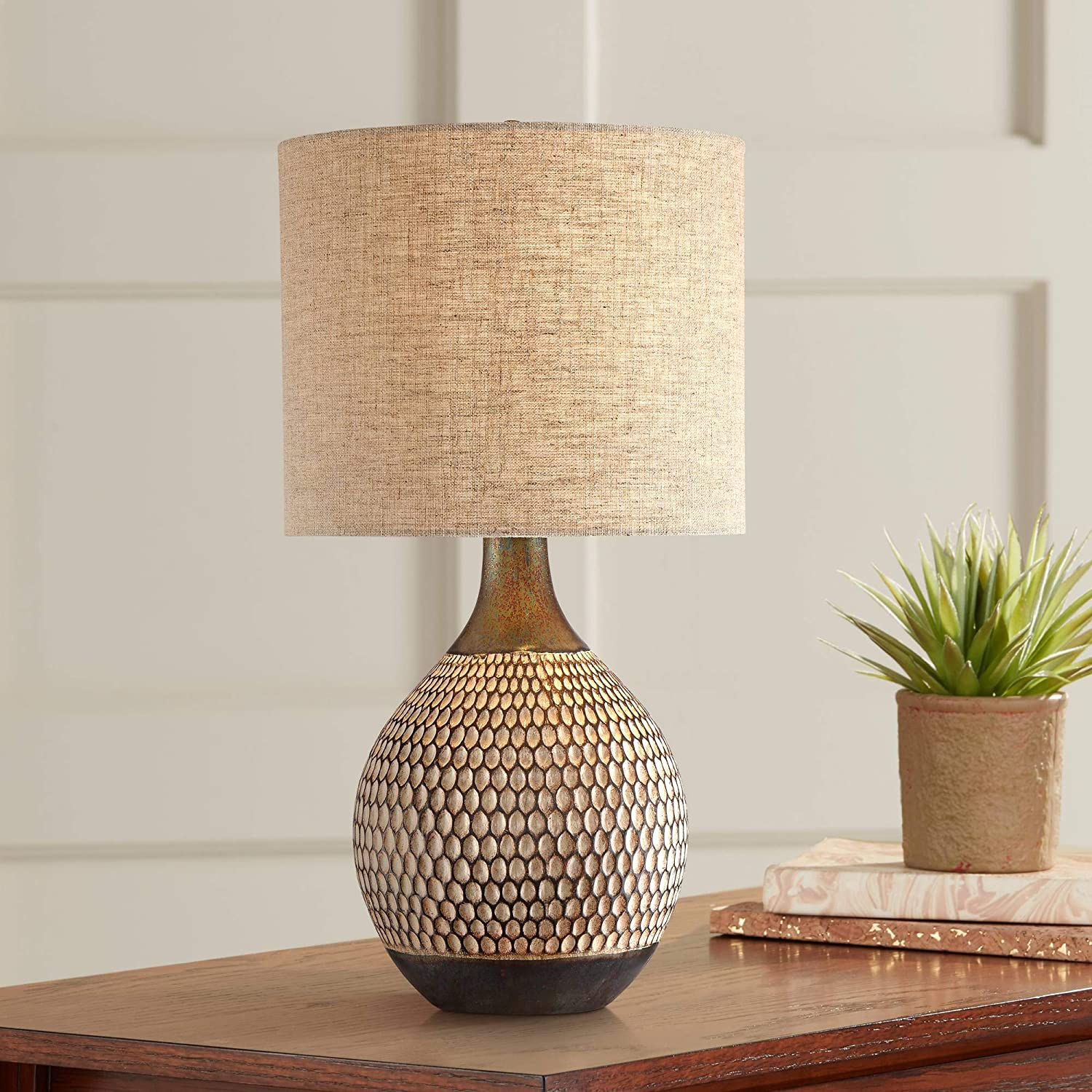 Emma Mid Century Modern Accent Table Lamp Brown Ceramic Drum Shade for Living Room Bedroom Bedside Nightstand Office Family - 360 Lighting