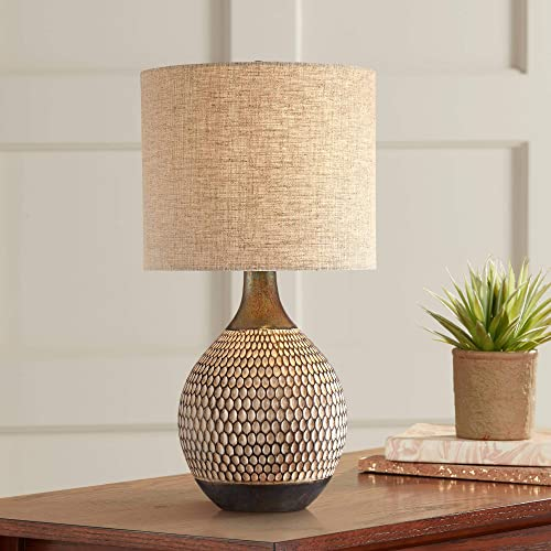 Emma Mid Century Modern Accent Table Lamp Brown Ceramic Drum Shade for Living Room Bedroom Bedside Nightstand Office Family – 360 Lighting