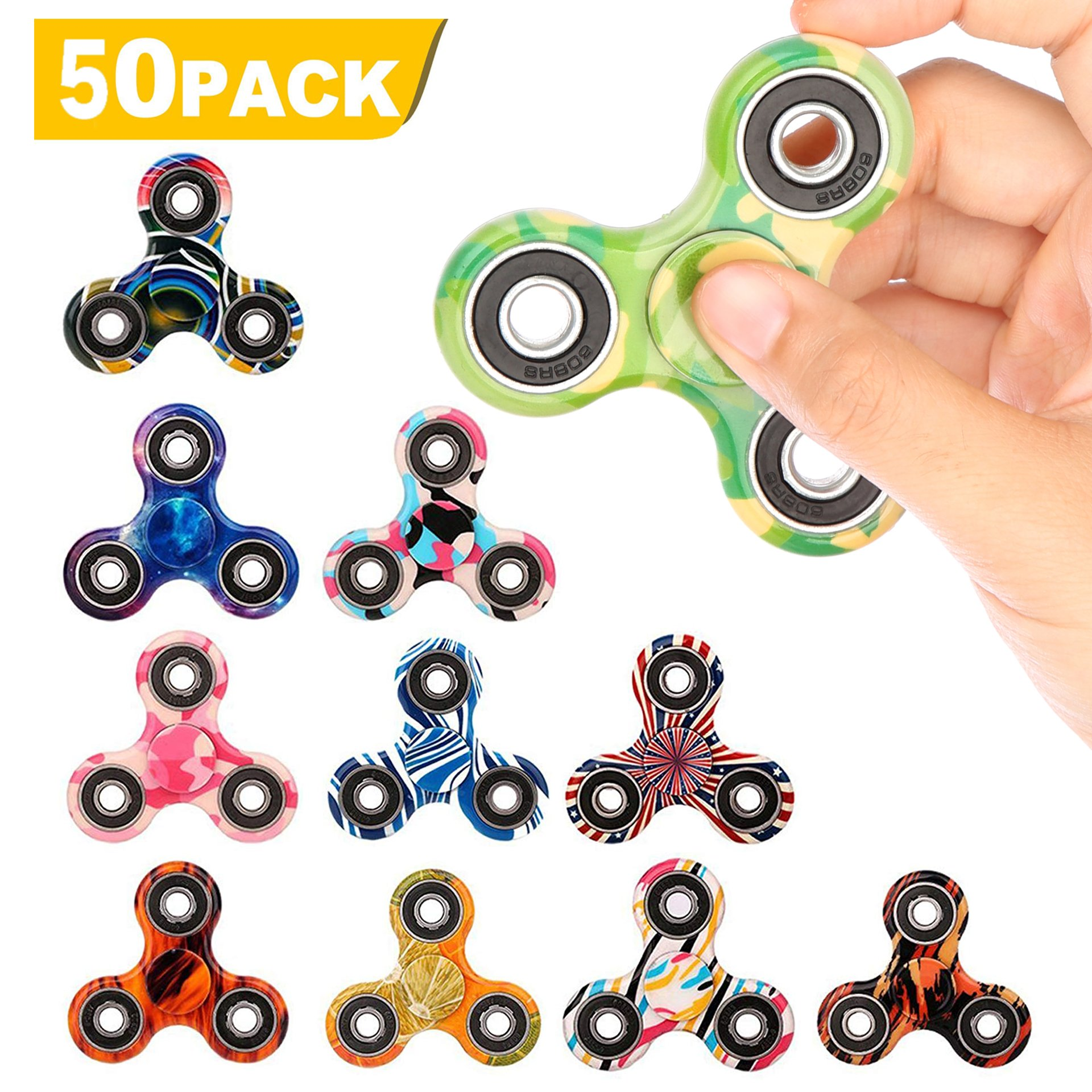 SCIONE 50 Pack Fidget Spinner ADHD Anxiety Stress Relief Toys for Adults Kids Autism Fidgets Best EDC Hand Spinners Bearing Trispinner Finger Toy Focus Fidgeting Restless Tri-Spinner by SCIONE