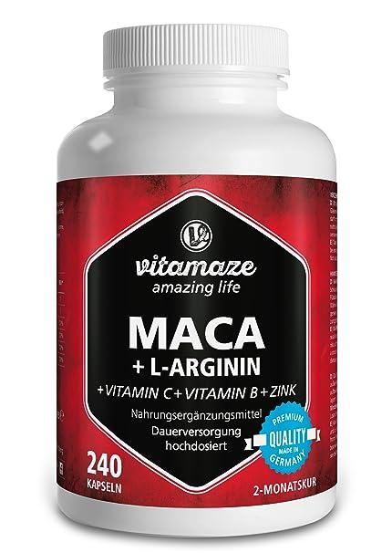 Maca Kapseln hochdosiert 4000 mg + L-Arginin 1800 mg + Vitamine + Zink, 240 Kapseln für 2 Monate, Qualitätsprodukt-Made-in-Ge