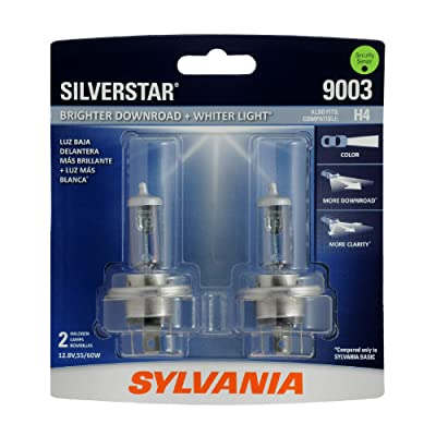 SYLVANIA - 9003 SilverStar - High Performance Halogen Headlight Bulb, High Beam, Low Beam and Fog Replacement Bulb, Brighter Downroad with Whiter Light (Contains 2 Bulbs): Automotive