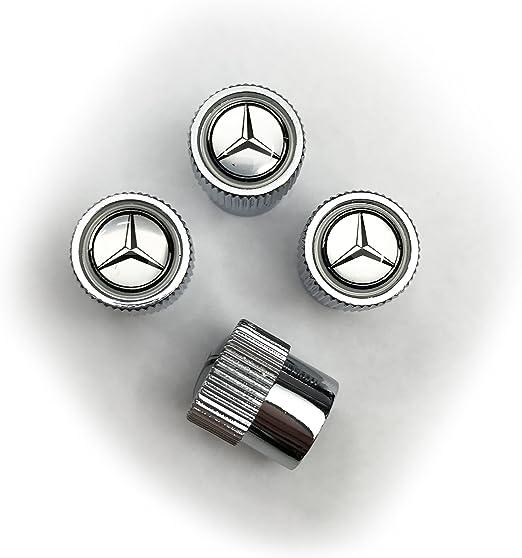 MERCEDES BENZ CLA CLS CLK SILVER Wheel Rim Tyre Metal Valve Air Caps Dust Covers