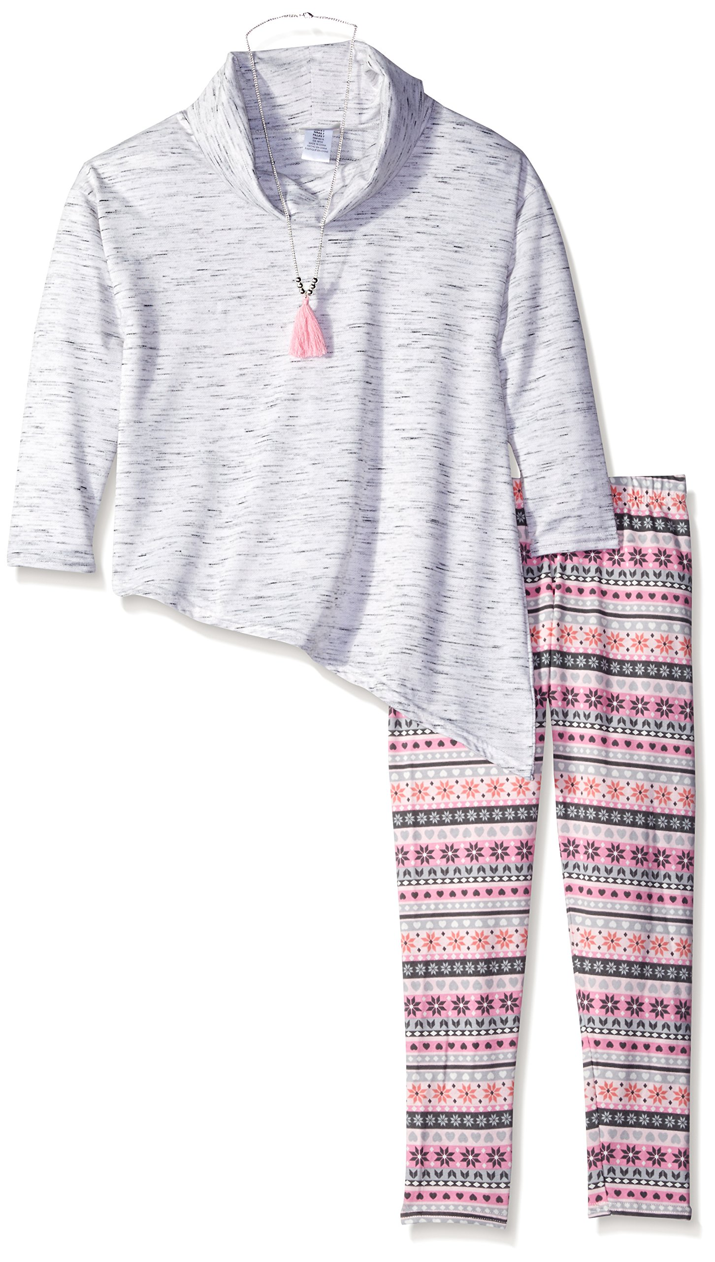 Emily West Big Girls' ''Wry Smile'' 2-Piece Outfit - pink/gray, 10