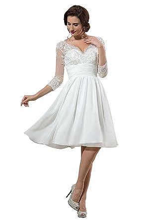 nanger damen spitze chiffon hochzeitskleider kurz standesamt mit 3 4 armel brautkleider strand amazon de bekleidung