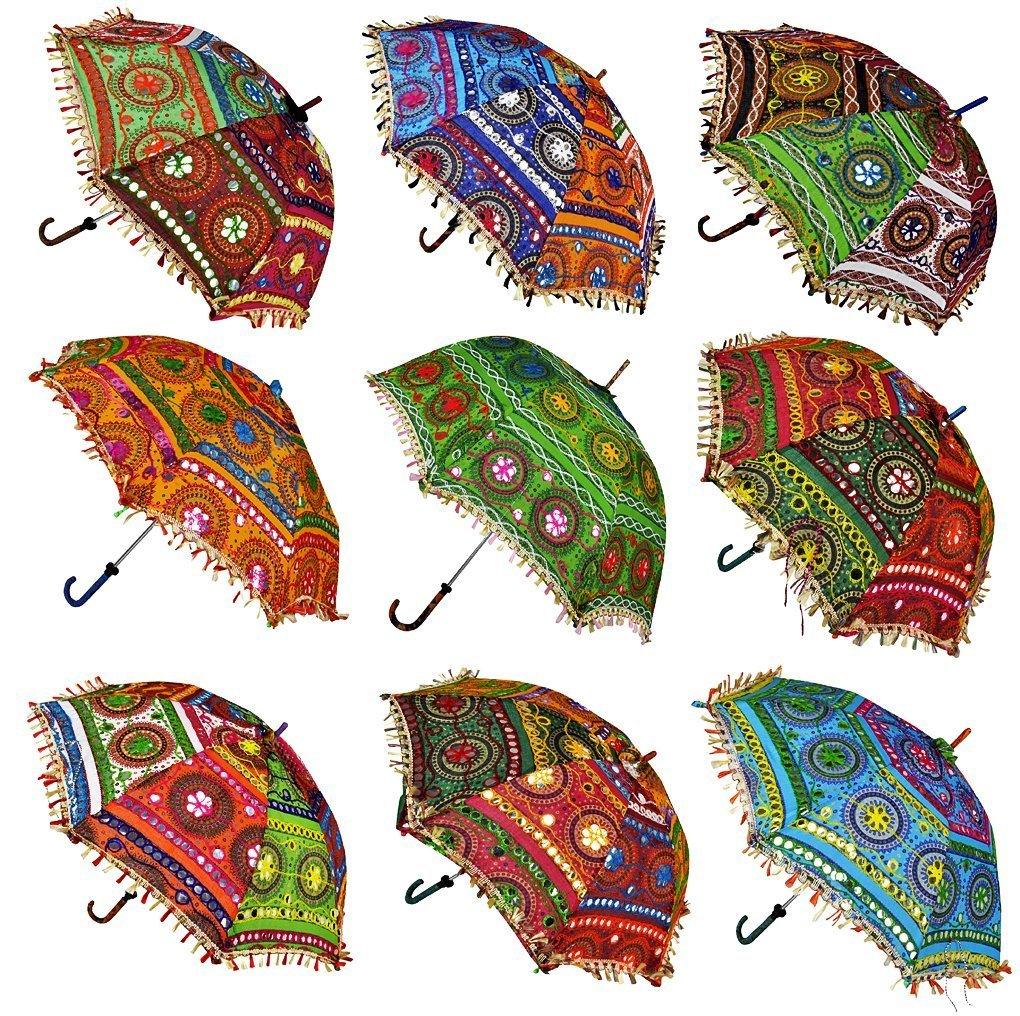 Wholesale Lot Indian Handmade Embroidered Decor Parasol Vintage Umbrella 100 lot