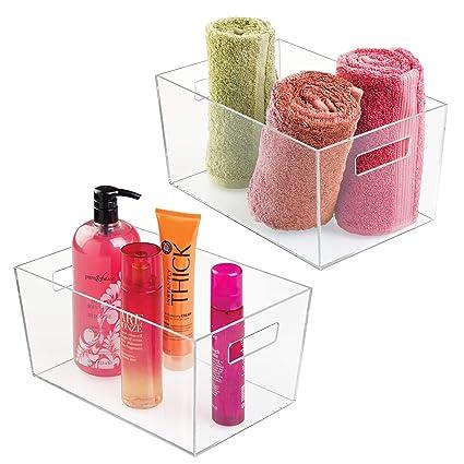 mDesign Juego de 2 cajas de plástico con asas – Organizador transparente grande – Cajas organizadoras