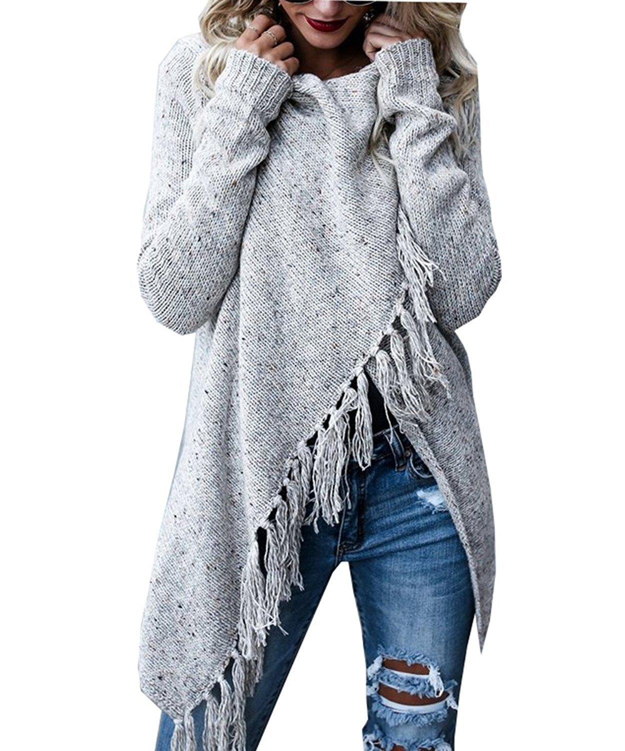 Fantastic Zone Womens Long Sleeve Speckled Fringe Open Front Cardigan Sweaters for Women, Small, Grey