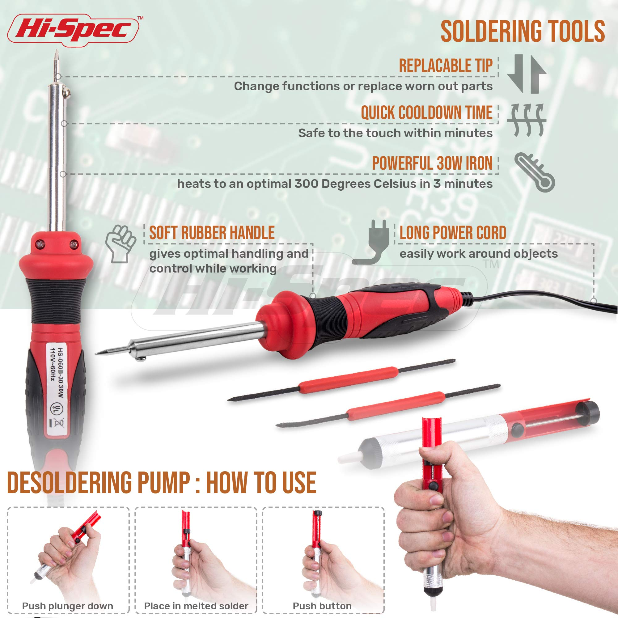 Hi-Spec All-In-One 30W Soldering Station inc. Soldering Iron, Helping Hands & 9pc Accessory Set - Desoldering Pump, Tin Alloy Solder, De-Solder Alloy & 2pc Solder Assist Tools by Hi-Spec (Image #3)