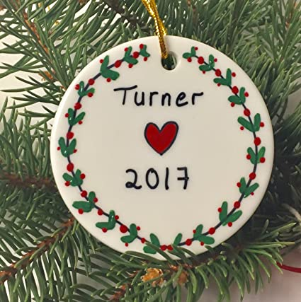 hand painted personalized name year christmas ornament comes in a gift box gift