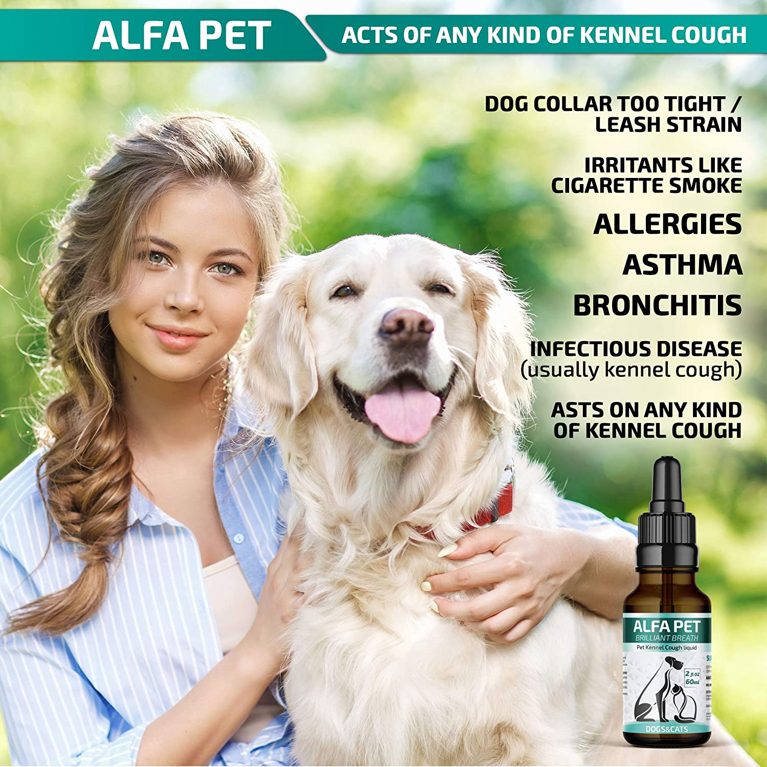Kennel Cough Medicine for Dogs - Organic Dog Cough Medicine for Colds &  Allergies - Natural Kennel Cough Treatment with Mullein Leaf & Elderberry