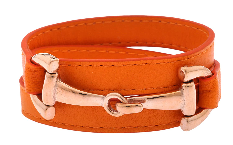 1St. Bulily Femmes Bracelet Cuir Orange/Rose Or NN-1460-OR