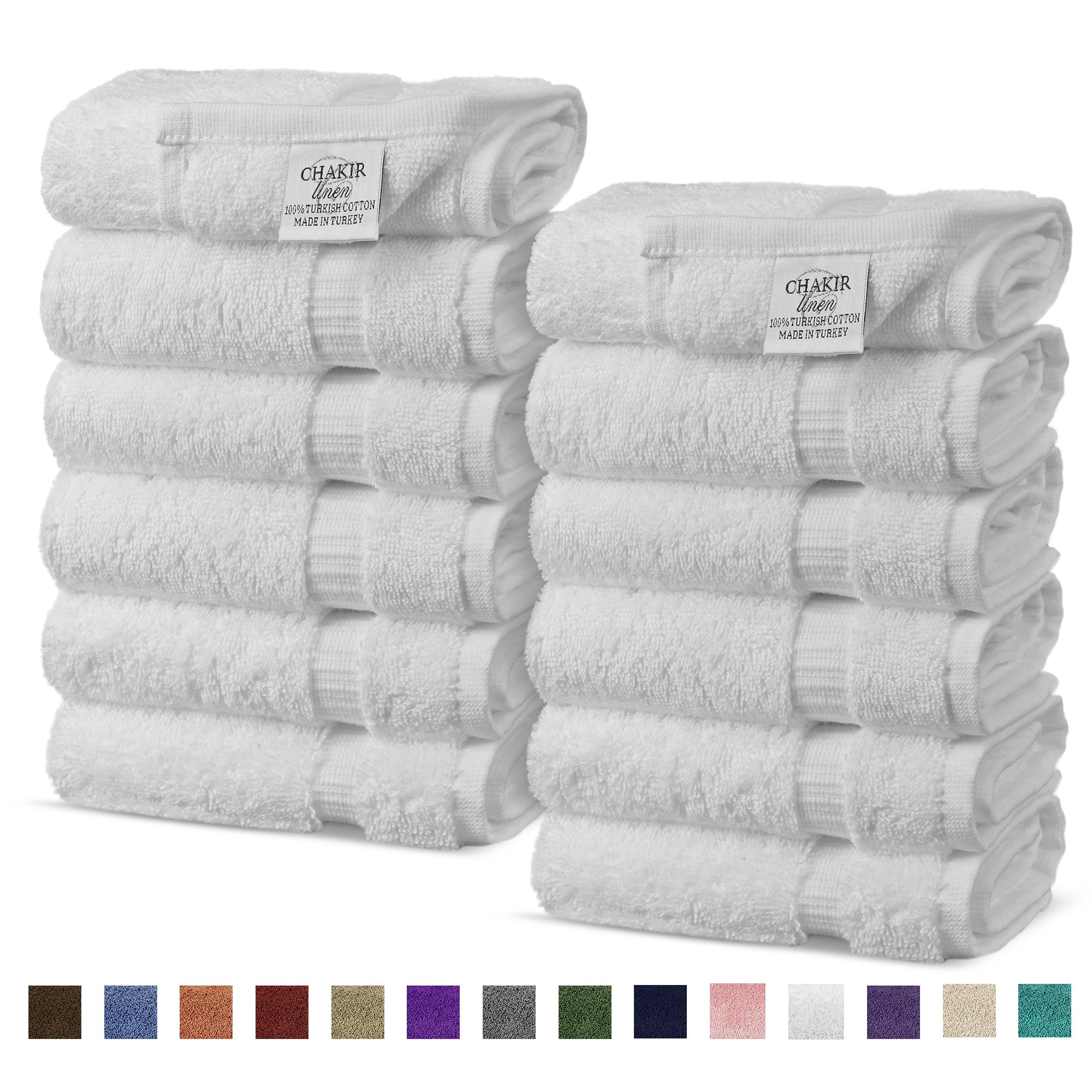 Chakir Turkish Linens Turkish Cotton Luxury Hotel & Spa Bath Towel, Wash Cloth - Set of 12, White
