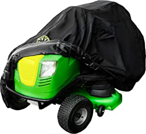 Family Accessories Waterproof Riding Lawn Mower Cover, Heavy Duty Water Resistant Garden Tractor Cover, Weatherproof Outdoor Storage for Ride On Lawnmower Engine, Deck Up to 54