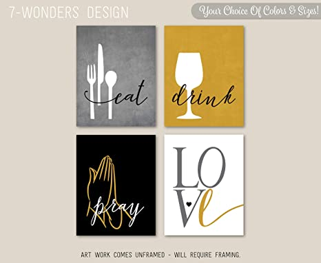 Amazon.com: Moira Modern Kitchen Wall Art Prints Eat Drink ...